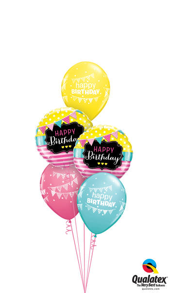 49144 50209 Bday Pennants & Pink Stripes Classic