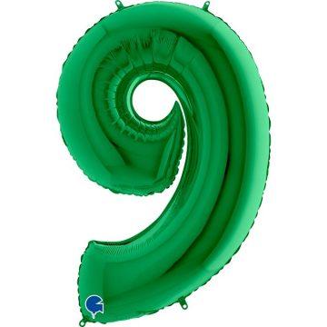 cyfry z helem zielone 9
