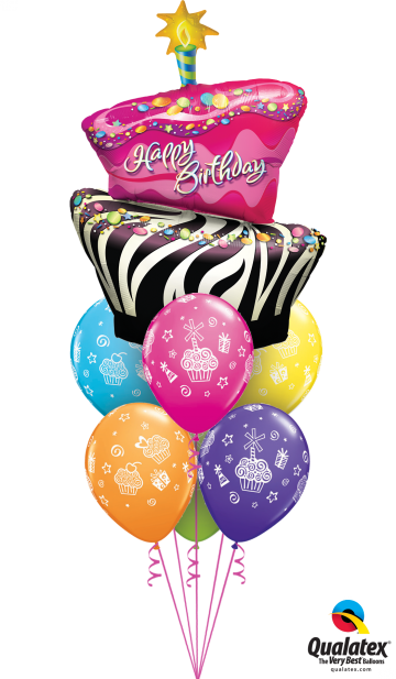 16081 31227 Birthday Funky Zebra Stripe Cake Luxury RUSSIAN