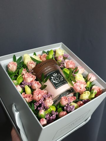 flower box sfera zieleni świeca vellutier